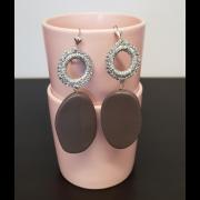 Orecchini di filato glitterato argento e pietre